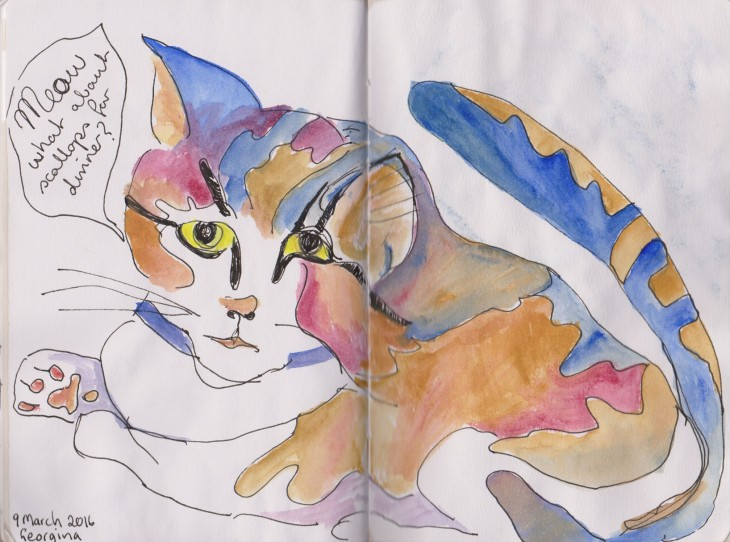 Our cat Georgina, pen and ink and watercolour, 9 March 2016