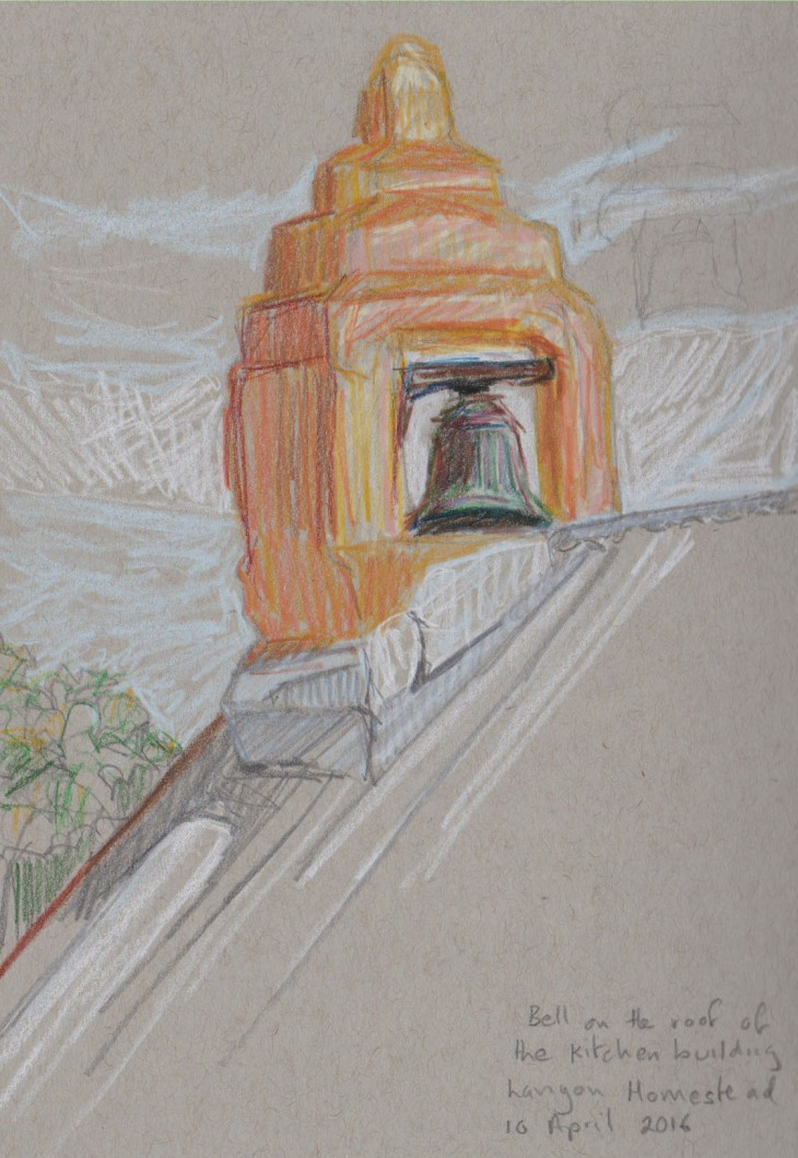 The bell on the kitchen block, Lanyon Homestead, circa 1830s. Coloured pencil and graphite