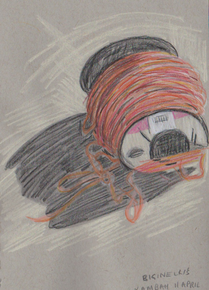A spool of builders twine, coloured pencil on toned grey paper, 11 April 2016.