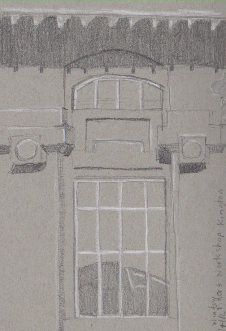 Detail of a window, the Fitter's Workshop. Graphite and white chalk on gray-toned paper.