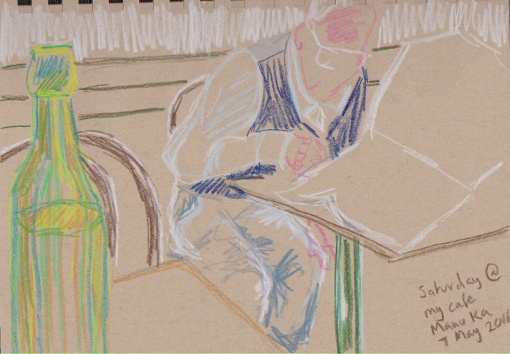 In the coffee shop Saturday morning, coloured pencil on toned tan paper
