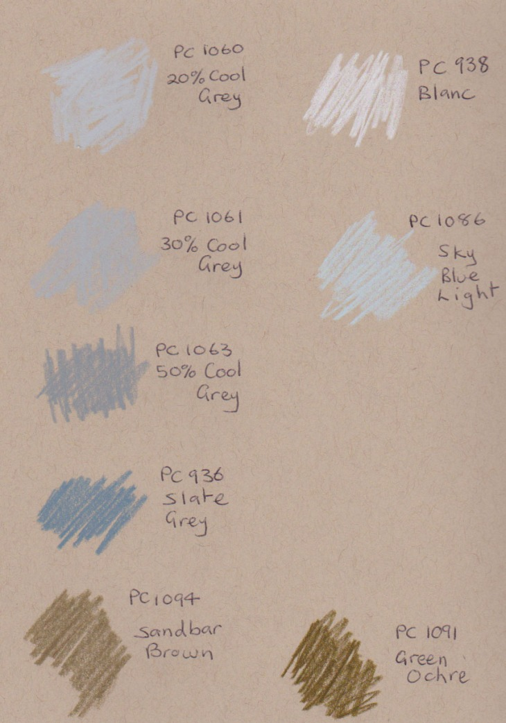 test colours on toned-tan paper, greys and neutrals