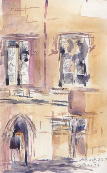 A closer look at one of the buildings, watercolour applied with a square brush